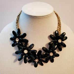 Black Chunky Floral Linked Bib Necklace